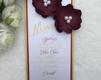 burgundy and gold menus, paper flower menus, floral wedding menus