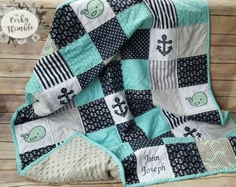 Embroidered Nautical Crib Quilt, Baby boy quilt blue, Nautical crib bedding, Monogrammed baby quilt, Minky baby quilt, Blue anchors quilt