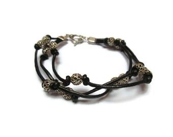 Black leather and sterling silver bracelet / Elegant bracelet / Sterling silver filigree bead bracelet / Boho bracelet/ Three stand bracelet