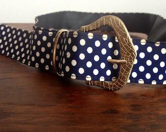 50s navy blue & white dotty belt / Silver metal buckle design