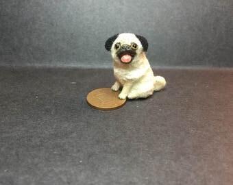 Miniature 1:12 scale pug puppy dollshouse dog