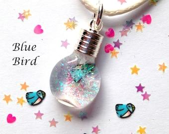 Blue Bird, Snowglobe Necklace,snowglobes,custom,necklaces,charms,kids jewelry,kids crafts,silver,animal charms,kid fun jewelry,blue birds
