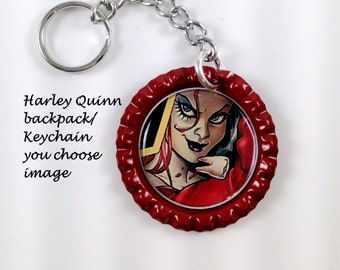 Harley Quinn backpack charm/key chain,you choose image,harley quinn collectables,harley quinn jewelry,harley quinn charms,harley quinn