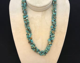 Southwest Silver and Turquoise Necklace Triple Strand