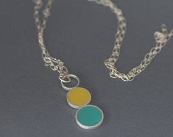 Sterling Silver Necklace. Yellow Necklace. Green Necklace. Round Pendant Necklace. Long Necklace. Statement Necklace. Silver Pendant. Resin