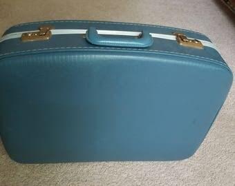 Vintage Blue Hard Shell Suitcase 1950s Luggage