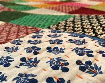 Patchwork Handmade King Size Quilt 100% cotton Reversible Multipurpose Ready to ship modern cotton quilts kantha quilt BDFR68
