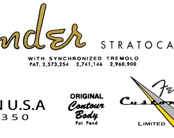 Two Stratocaster Custom Shop Limited Edition Headstock Decals