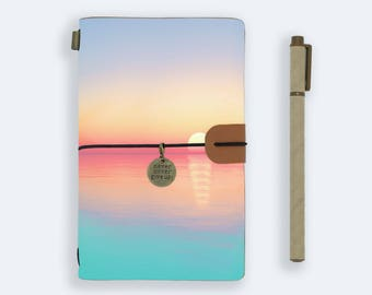 personalized leather journal refillable notebook diary genuine leather cover sunrise coean