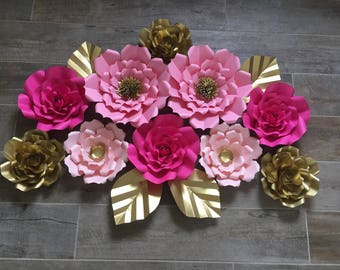Pink and gold paper flowers set of 10