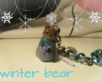 Keychain/ Dust Plug: Winter Bear
