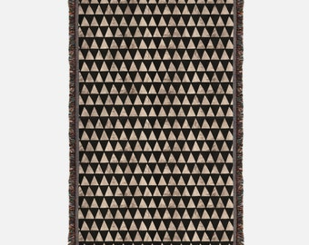 Black and Gold Triangles Woven Blanket, Woven Throw with black and gold triangles