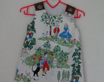 A line dress pinafore Alice in Wonderland and Jack and the beanstalk a lijn jurkje kleid