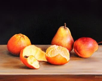 Still life with tangerines and pears, still life painting, original oil painting, fruits painting