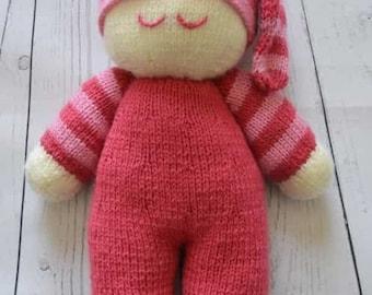 Easy Knit Dolly Knitting Pattern, Sleeping Doll, Doll Knitting Pattern, Doll Knit Pattern, Dolly Knit Pattern, Soft Toy Knitting Pattern