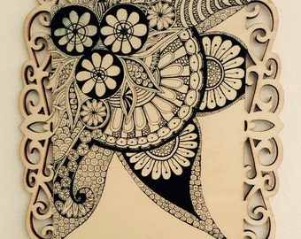 Zentangle, Hand Sketched Monochrome Drawing on Carved Wood // Gift // Home decor