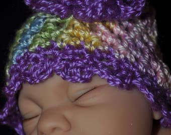 Crochet Baby Beanie with Flower Accent