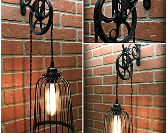 Vintage Black Bird Cage Wall Pulley Light - Industrial - Farmhouse - Steampunk - Edison - Chic
