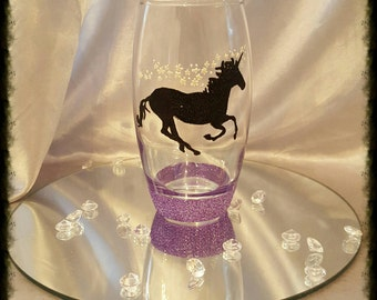 Hand decorated unicorn tumbler or wine glass