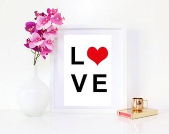 DIGITAL DOWNLOAD, Love Art, Love, Love Printable, Love Wall Decor, Heart Art