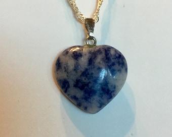 Sodolite Heart Necklace Stone Pendant
