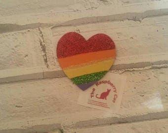 Heart fridge magnet - heart magnet -  wooden heart - hand painted rainbow - sparkling heart - rainbow heart - memo holder - office decor