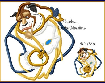The Beast from Beauty and the Beast Digital Embroidery Machine Applique Design File 4x4 5x7 6x10
