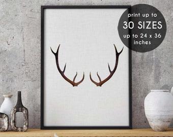 Antler printable, deer head, art, printable, deer printable, antler art print, antler decor, wall decor,home decor,art print,black,white, 43