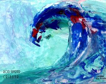 Cribbar,surf,surfing,surf art,rod sumpter, digital A4 instant download