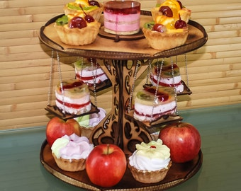 Vintage wooden cake stand foldable - tiered cupcake holder made of wood