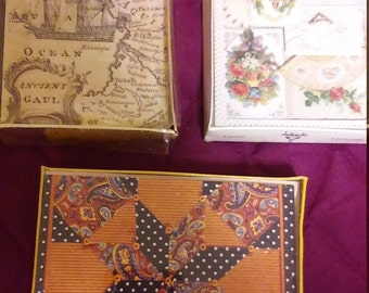 Set of 3 Boxes of Vintage Notecards