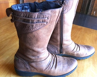 Rustic Boots, Brown Leather Boots, US Size 8, Grunge Boots, Women's Boots, Campus Boots, Mod Boots, Calf High Boots, Shoes
