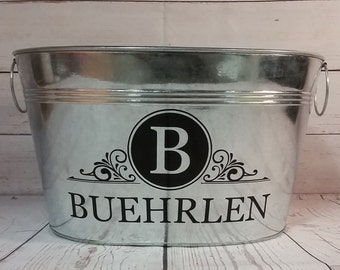 11 Quart Personalized Galvanized Metal Tub / Beverage Bucket/Gift Basket