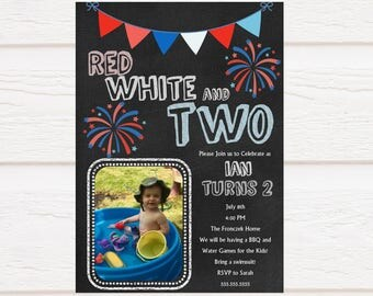 Red, White and Two Birthday Invitation - Personalized - Digital Invitation