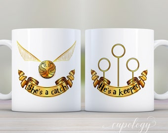 Mug Set, She's a Catch Mug, He's a Keeper, Quidditch Mug, Gift Set, Birthday gift, Valentines Gift, Christmas Gift, his and hers