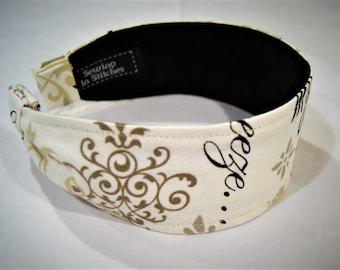Wide Women's Headband, Feminine Headband, Unique Gifts for Women, Nonslip Hairband, Le Jardin French Inspired Headband, Beautiful Headband