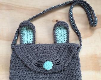 Bunny purse, Kids Purse, Crochet Purse, Crochet handbag, Rabbit Purse, Bunny Pocketbook, childrens purse, animal purse, crochet bunny purse
