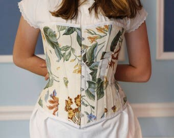 Victorian Cream and White Floral Overbust Corset