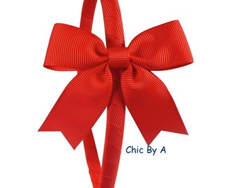 Girls Christmas Headband,Toddler Headband,Yellow,Red Bow Headband for Little Girls,Hard Plastic Headband,Red Hair Bow