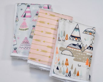 Personalized Baby Burp Cloths - Monogrammed Arrow Burp Cloth, Teepee Burp Cloth, Newborn, Nursing cloth, Woodland Changing Pad, Diaper