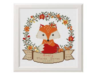 fox baby nursery Birth Announcement cross stitch pattern Birth sampler Newborn Birthday Baby Shower baby girl personalised gift red orange