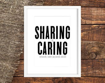 SHARING IS CARING | Printable Home Wifi Decor | Home Wifi Sign | Digital File Wifi Sign | Vertical Wifi Sign | Home Wifi Print | Home Wifi