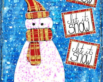 Mixed Media Snow Man Christmas Card- Set of 10