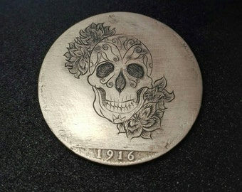 Hand Engraved Penny Hobo Nickel skull rose by RS