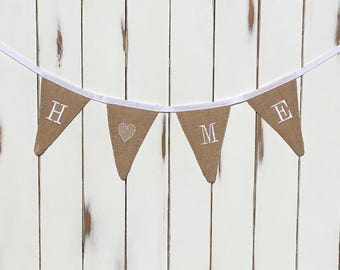 Home Burlap Banner | Hessian House Warming Bunting | Home Bunting | Home Banner | New Home Gift | Burlap Banner | Burlap Bunting | Home Gift