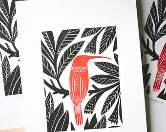 "Original Linocut print ""Hummingbird"" Scandinavian folk art inspired, unframed wall poster, Limited edition, handmade by Alexandra Dvornikova"