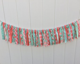 Coral and teal fabric banner, scrappy banner, home decor, rag tie banner, photo prop, fabric banner, fabric garland, floral banner, floral