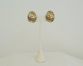 Vintage Coro Rhinestone Egg Earrings