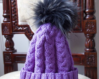 Beanie hat with pom pom, ski hat, knitted hat, Knit pom pom hat, fur pom pom hat, womens winter hat, natural fur pom pom,