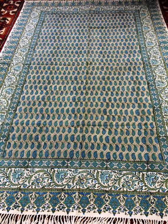 "handmade 60"" inches blue tablecloth rectangle with natural dyes, block printed tapestry art , paisley design with tassels"